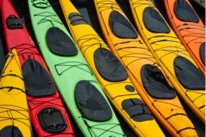 An assortment of colorful single and double-occupancy kayaks on an Alaskan shoreline.